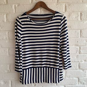 Madewell Striped Top 3/4 Sleeve Shirt Navy White